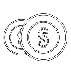 coin icon outline style vector image