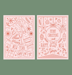 collection christmas and new year postcard vector image