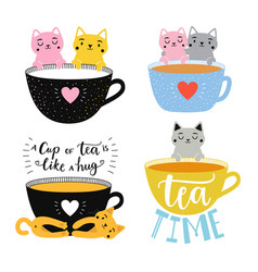 collection with cats and tea cups a cup tea vector image