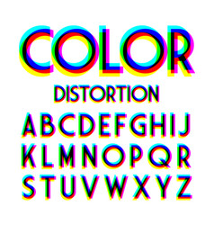 color distortion alphabet vector image
