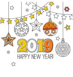 Congratulation card happy new year 2018 wreath vector