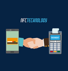 Dataphone with receipt and smartphone with credit vector