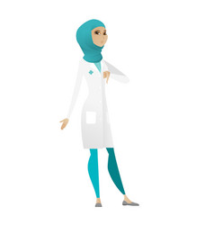 Disappointed muslim doctor with thumb down vector