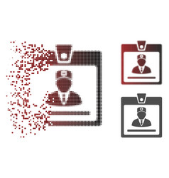 Disintegrating dotted halftone doctor badge icon vector