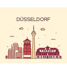 Dusseldorf skyline linear vector image