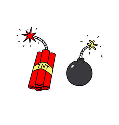 Explosives icons weapons terrorists cartoon vector