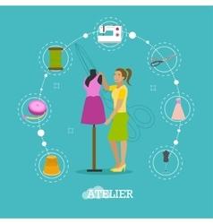 Fashion atelier tailor studio shop concept vector image