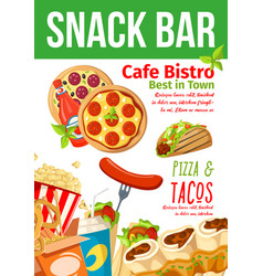fast food snacks bar and bistro menu vector image