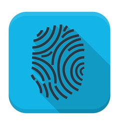 Fingerprint app icon with long shadow vector image