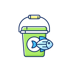 Fishing bucket rgb color icon vector