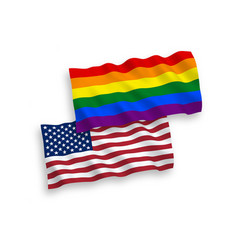 Flags rainbow gay pride and america on a white vector