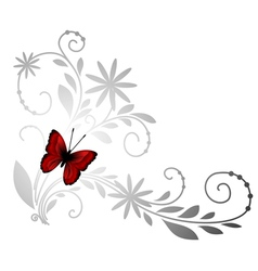 Floral pattern with red butterfly vector