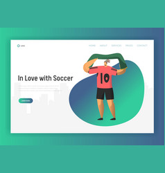 Football fan character landing page soccer event vector