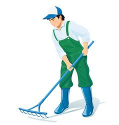 garden worker with rake vector image