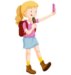 Girl taking selfie and eating icecream vector