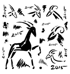 Goat 2015 set New year Symbol vector image