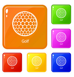 golf ball icons set color vector image