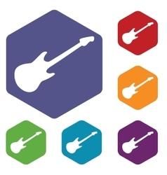 Guitar hexagon icon set vector