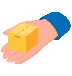 Hand is holding cardboard box flat vector