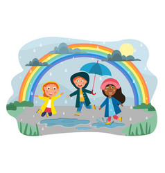 happy group diverse kids playing in rain vector image