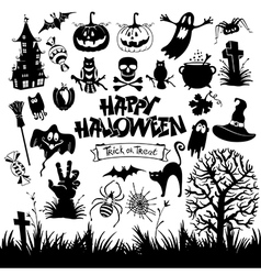 happy halloween designs set with various elements vector image