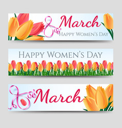 Happy woman day banners with tulips vector