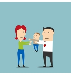 Happy young mother and father with toddler son vector