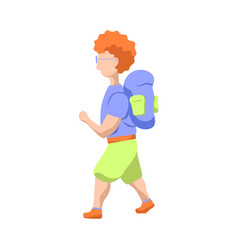 hipster man with backpack walking flat vector image