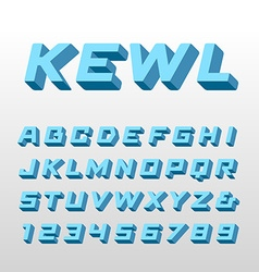 Isometric font alphabet with 3d effect letters and vector