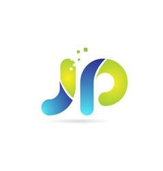 Jp j p blue green combination alphabet letter vector