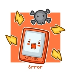 Kawaii angry tablet card Doodles with pretty vector