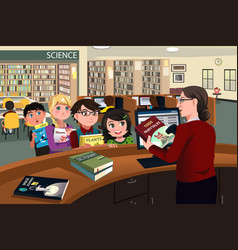 Kids checking out books in the library vector