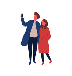 Man and woman taking selfie flat vector