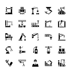 manufacture robotics glyph icons vector image