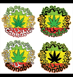 marijuana cannabis jamaican colors design stamps vector image