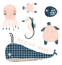 marine graphic elements sea horse whale octopus vector image
