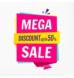Mega sale banner template Discount up to 50 vector