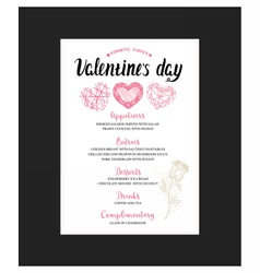 Menu flyer for Valentine Day dinner vector