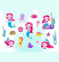 mermaid cute stickers cartoon little princess vector image