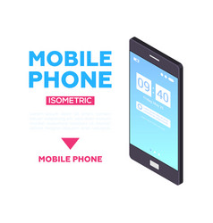 mobile phone web banner - modern isometric vector image
