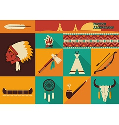 Native Americans icons flat design vector image