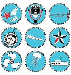 Nautical elements type 2 icons in knottet circle vector