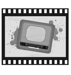 old frame with old tv vector image