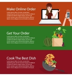 order online groceries get the vegetable and cook vector image