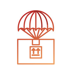 Parachute with box carton packing icon vector