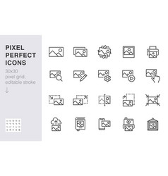 Photo line icon set image gallery picture frame vector