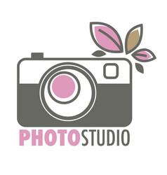 photo studio retro camera and plant leaves vector image
