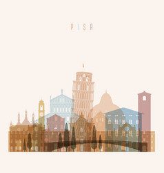 pisa skyline detailed silhouette vector image