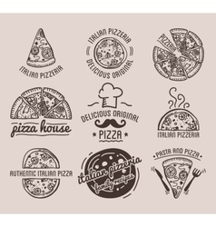 Pizza label design typographic set vector