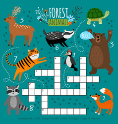 Printable animal crossword vector
